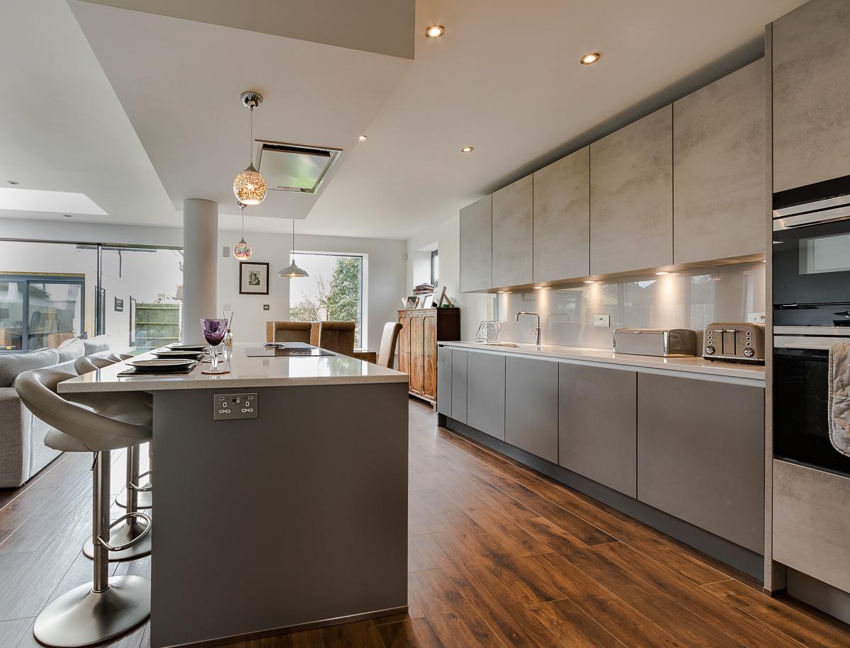 Nobilia Handleless Concrete Grey Kitchen