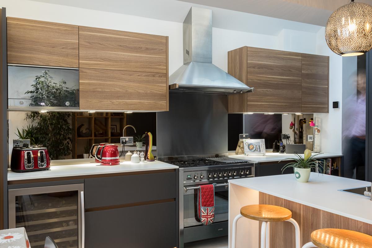 Leicht Carbon Grey and Walnut Kitchen, Chiswick