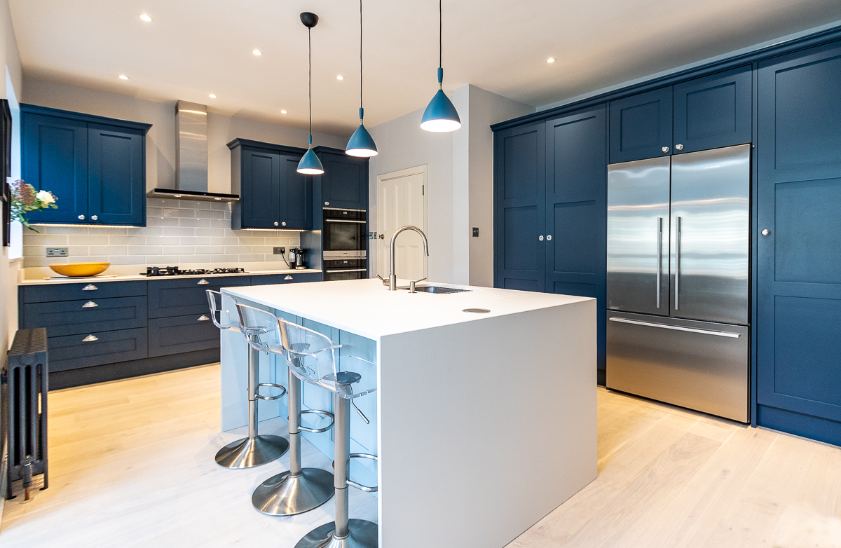 Stoneham Shaker-style Blue Kitchen, East Sheen