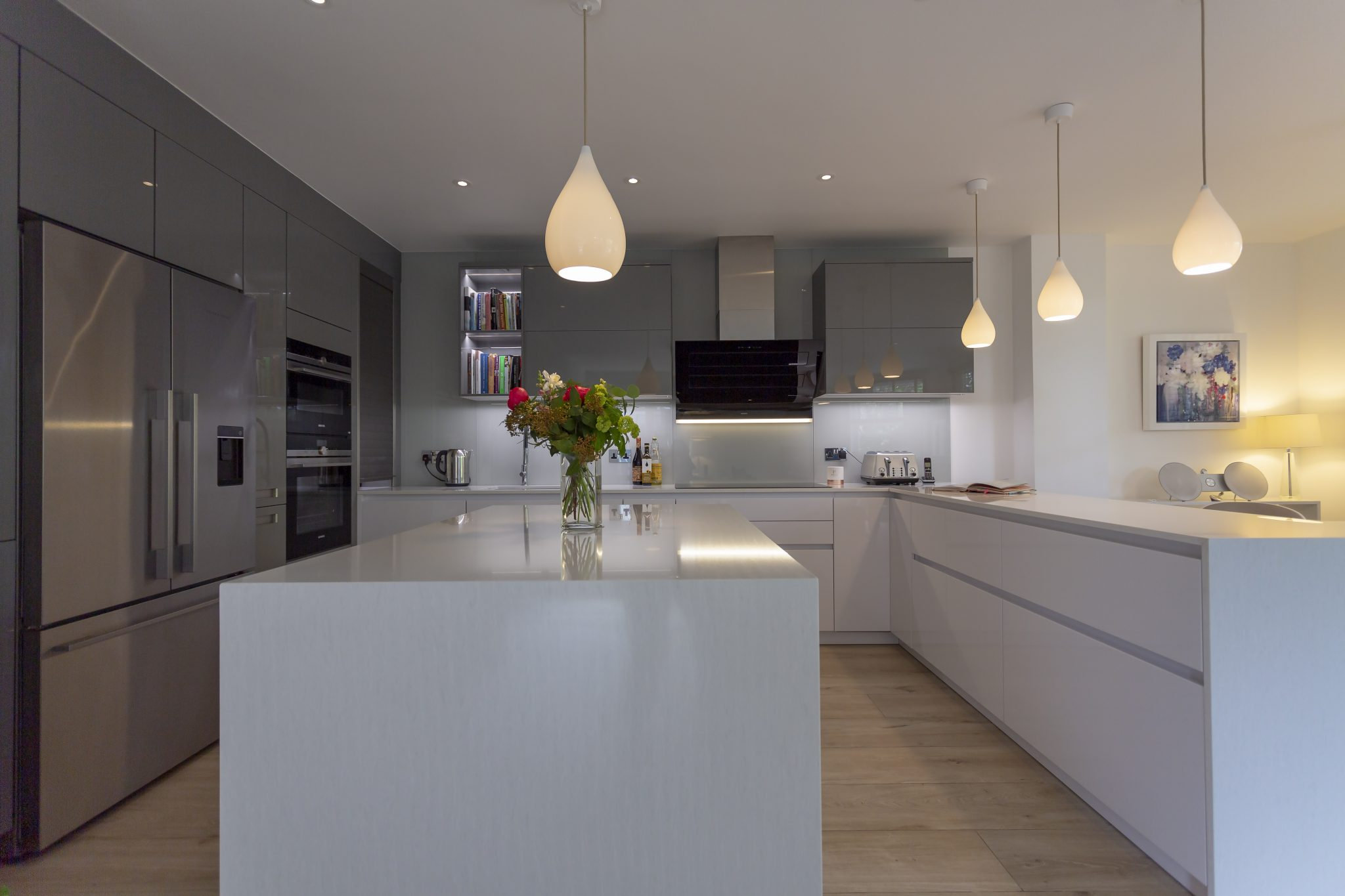 Leicht Artic White and Alpine Grey Kitchen, Richmond