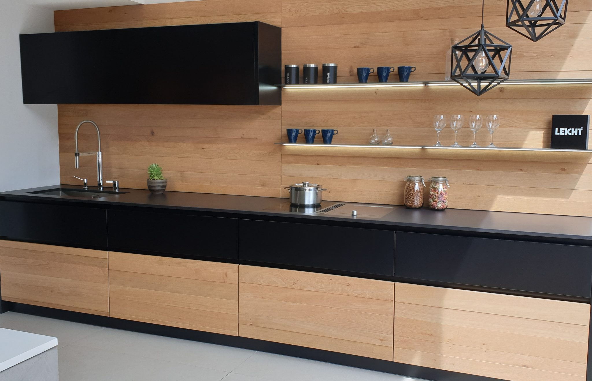 Ex Display Leicht Wood and Black Kitchen