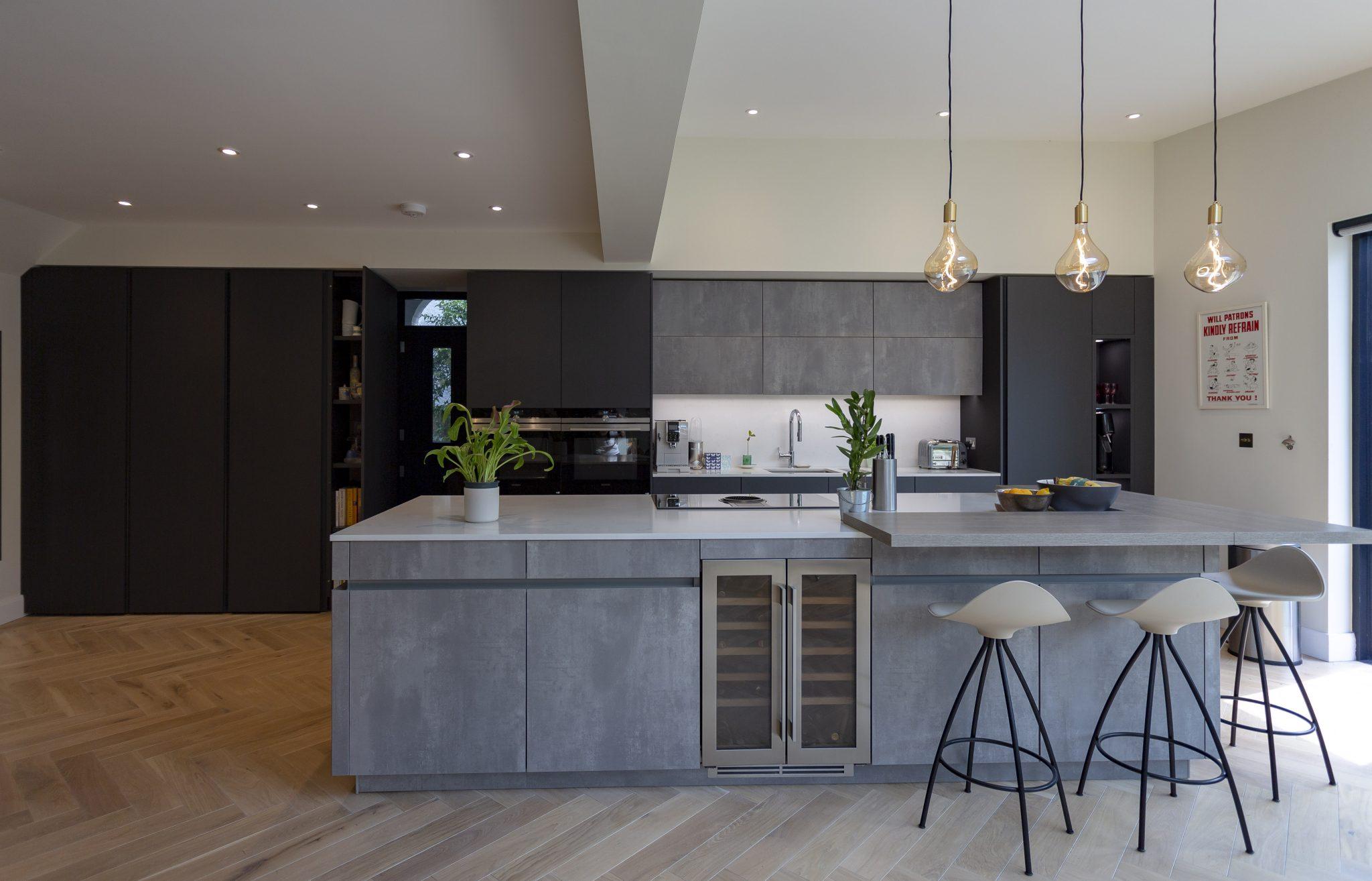 Leicht Carbon Grey and Concrete Kitchen, Richmond
